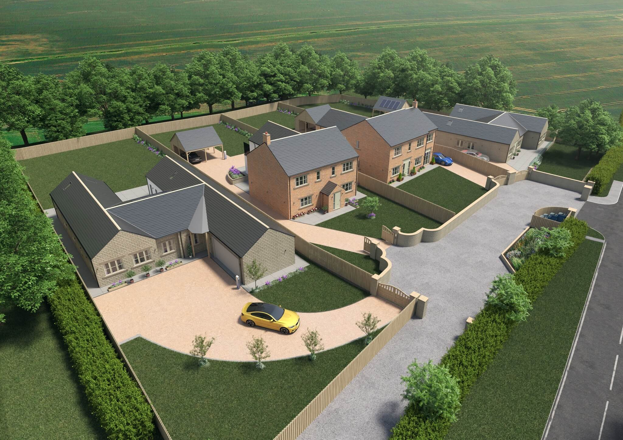 Harmby Homes Barley Court Staveley view from above front